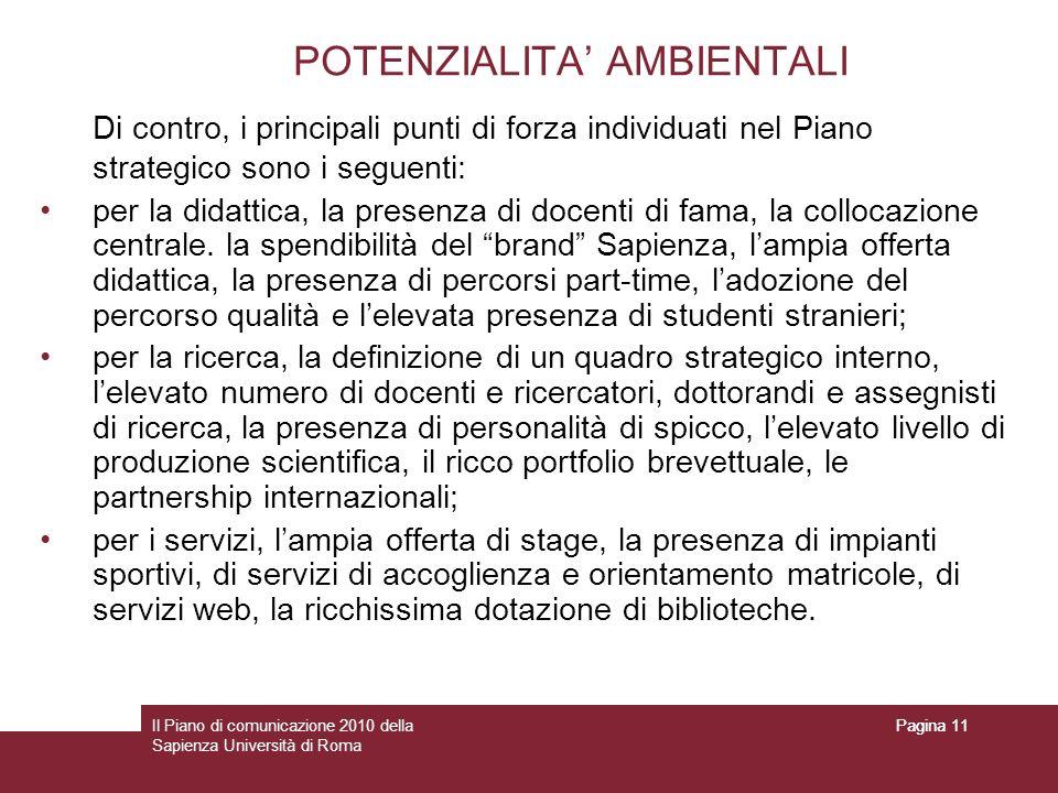 Il Piano di comunicazione 2010 della Sapienza Università di Roma Pagina 11 POTENZIALITA AMBIENTALI Di contro, i principali punti di forza individuati