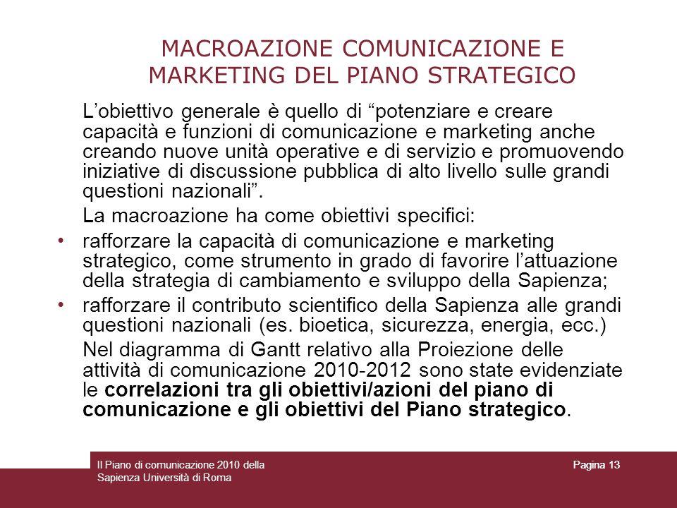 Il Piano di comunicazione 2010 della Sapienza Università di Roma Pagina 13 MACROAZIONE COMUNICAZIONE E MARKETING DEL PIANO STRATEGICO Lobiettivo gener