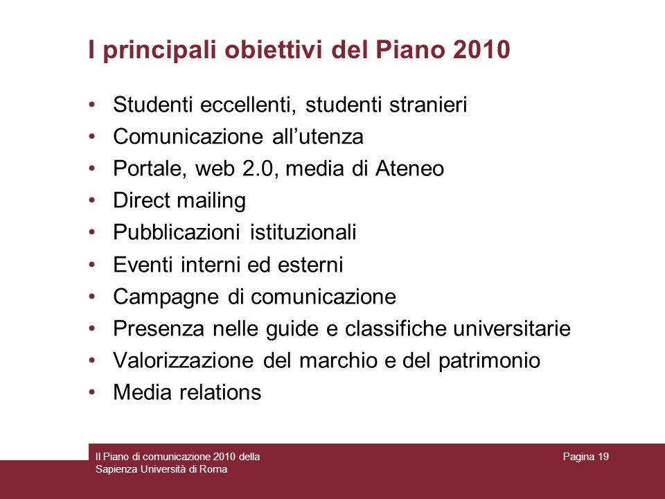 Il Piano di comunicazione 2010 della Sapienza Università di Roma Pagina 19 I principali obiettivi del Piano 2010 Studenti eccellenti, studenti stranie