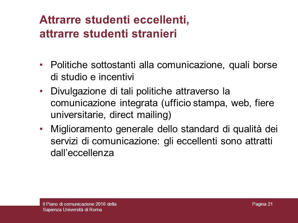 Il Piano di comunicazione 2010 della Sapienza Università di Roma Pagina 21 Attrarre studenti eccellenti, attrarre studenti stranieri Politiche sottost