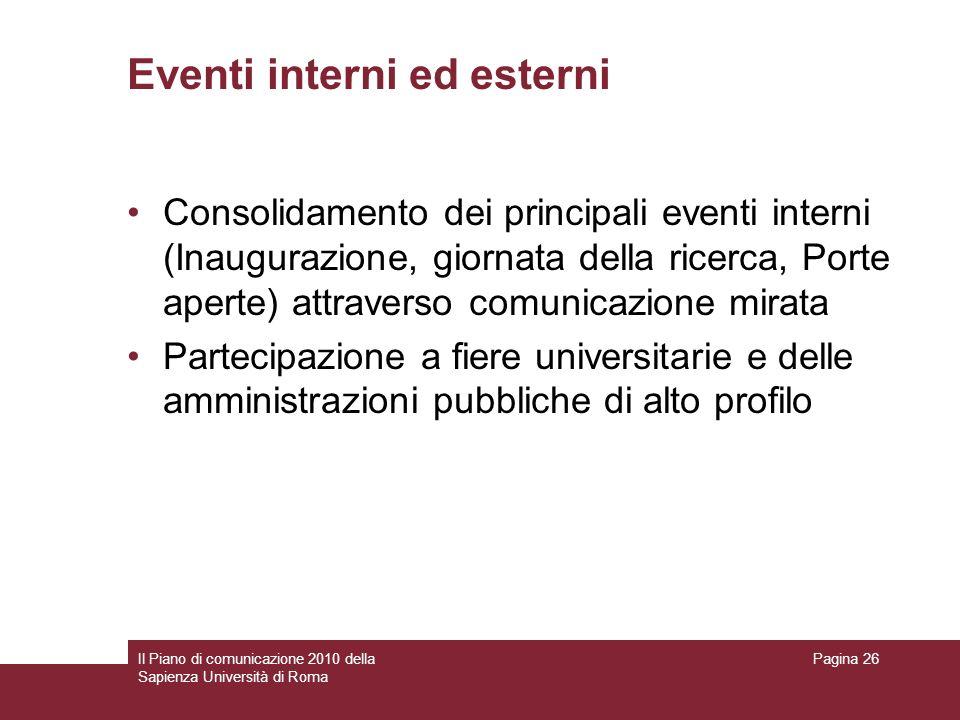 Il Piano di comunicazione 2010 della Sapienza Università di Roma Pagina 26 Eventi interni ed esterni Consolidamento dei principali eventi interni (Ina