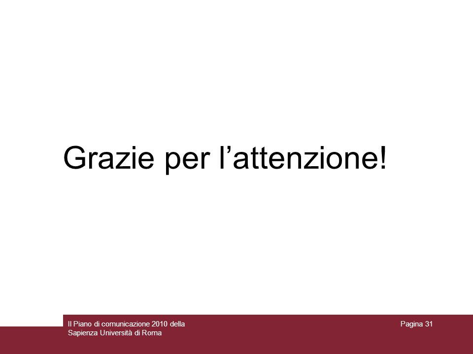Il Piano di comunicazione 2010 della Sapienza Università di Roma Pagina 31 Grazie per lattenzione!