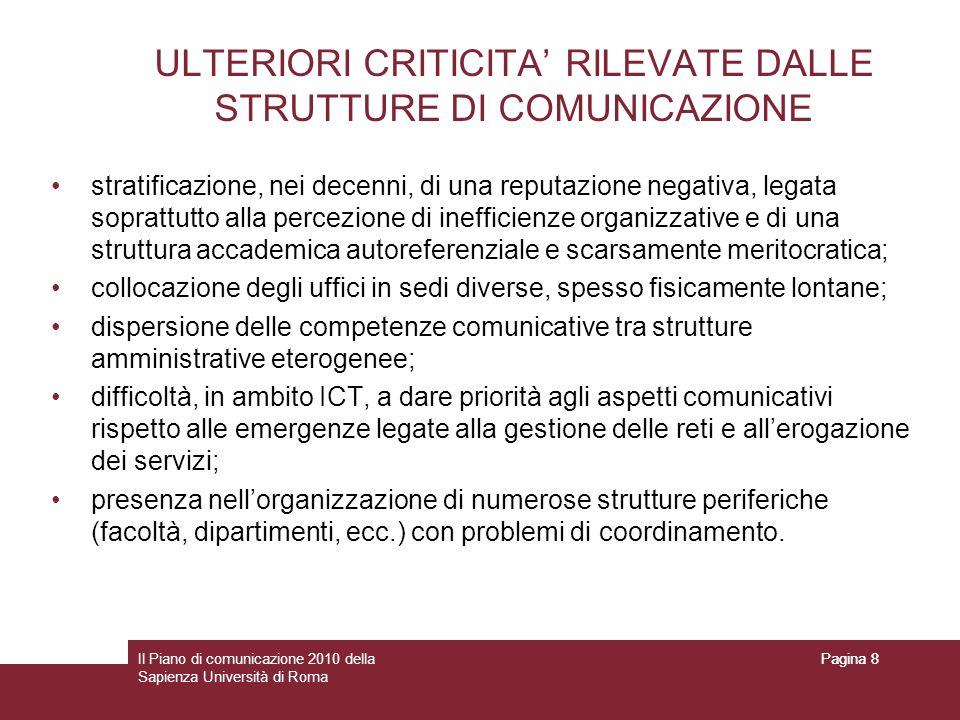 Il Piano di comunicazione 2010 della Sapienza Università di Roma Pagina 8 ULTERIORI CRITICITA RILEVATE DALLE STRUTTURE DI COMUNICAZIONE stratificazion
