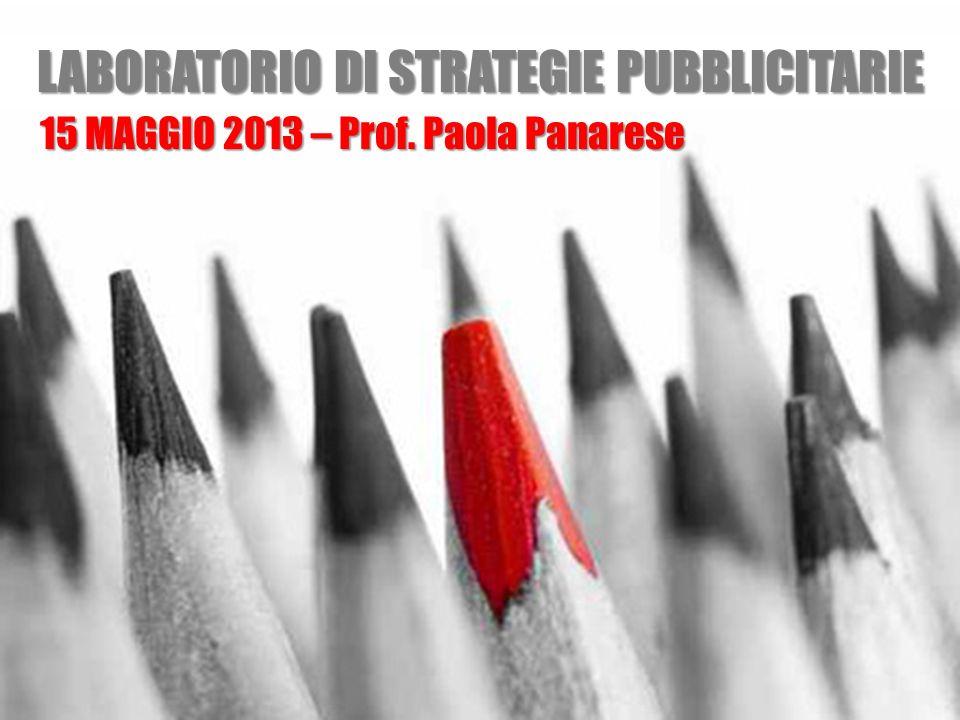 Laboratorio di strategie pubblicitarie LABORATORIO DI STRATEGIE PUBBLICITARIE 15 MAGGIO 2013 – Prof. Paola Panarese