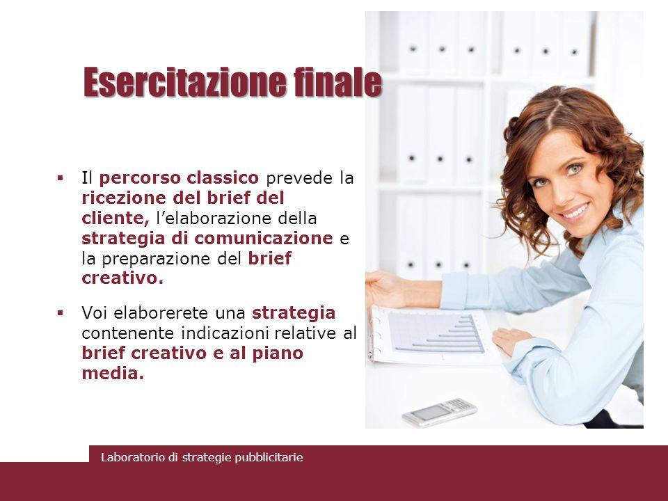 Laboratorio di strategie pubblicitarie Esercitazione finale Il percorso classico prevede la ricezione del brief del cliente, lelaborazione della strat