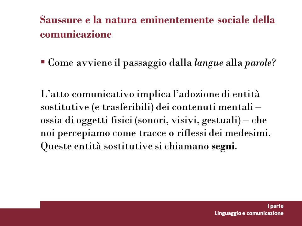 Saussure e la natura eminentemente sociale della comunicazione Come avviene il passaggio dalla langue alla parole? Latto comunicativo implica ladozion