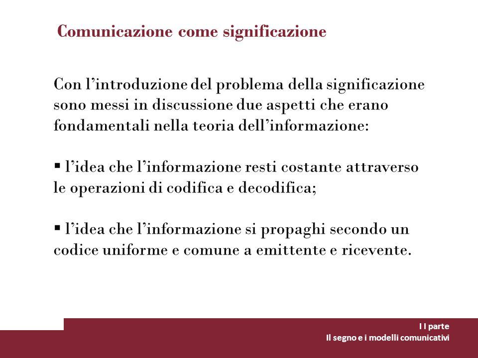 Comunicazione come significazione I I parte Il segno e i modelli comunicativi Con lintroduzione del problema della significazione sono messi in discus