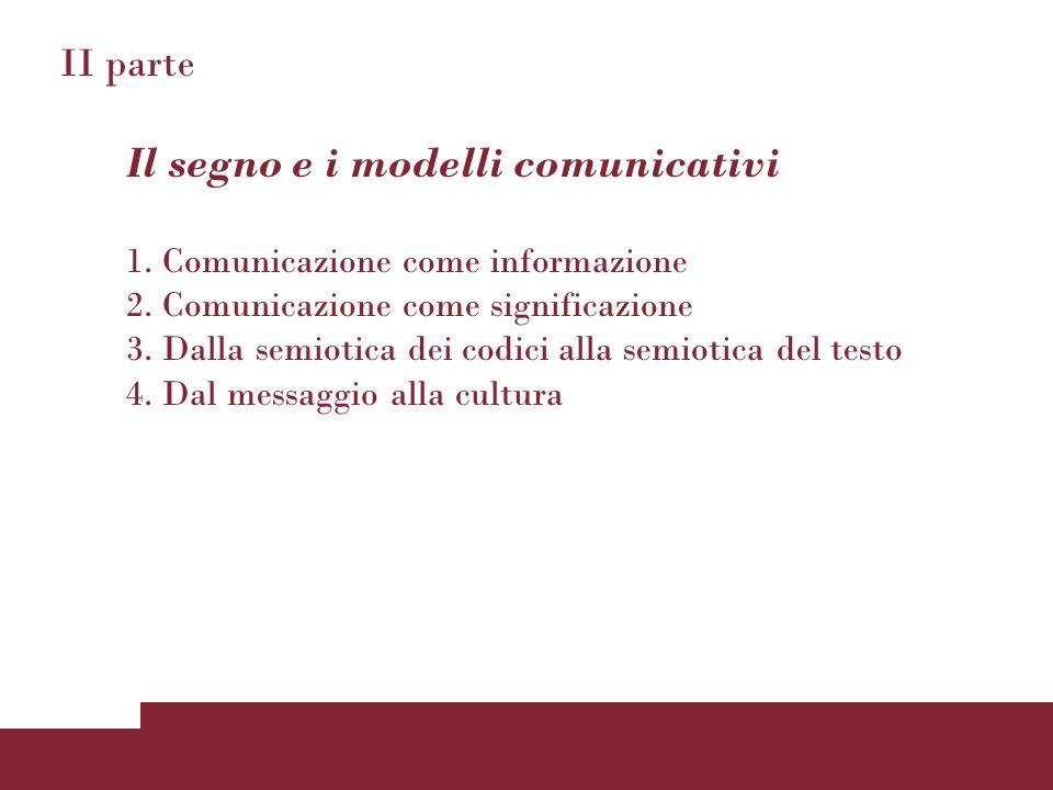II parte Il segno e i modelli comunicativi 1. Comunicazione come informazione 2. Comunicazione come significazione 3. Dalla semiotica dei codici alla