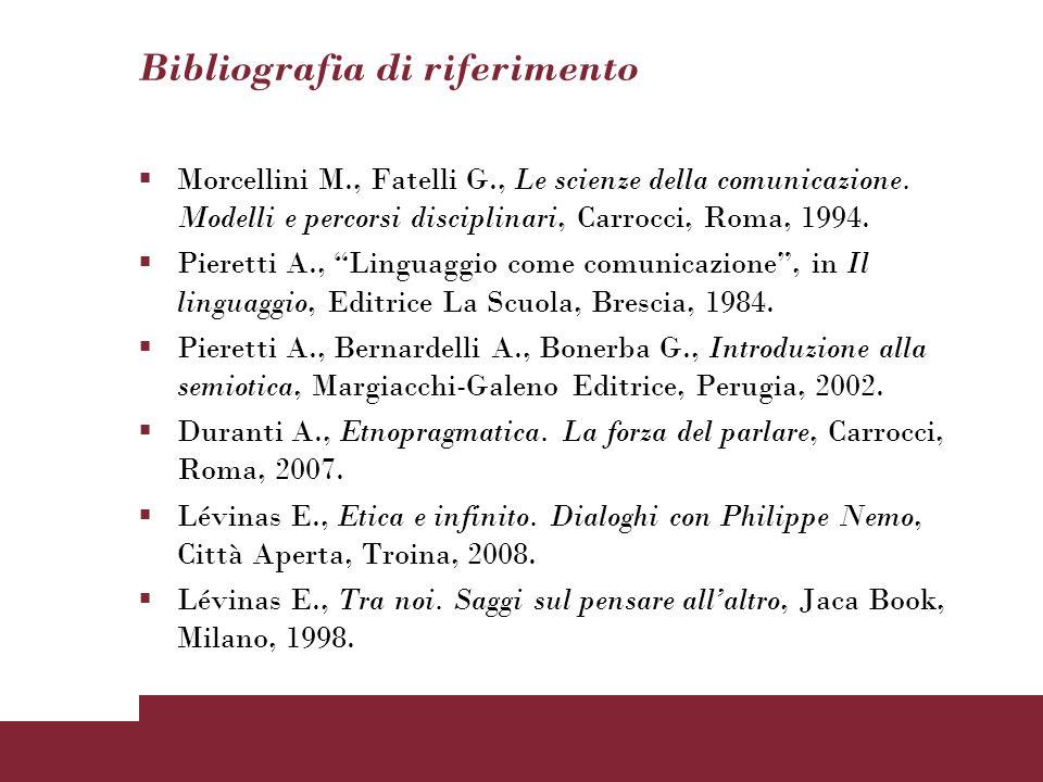 Bibliografia di riferimento Morcellini M., Fatelli G., Le scienze della comunicazione. Modelli e percorsi disciplinari, Carrocci, Roma, 1994. Pieretti