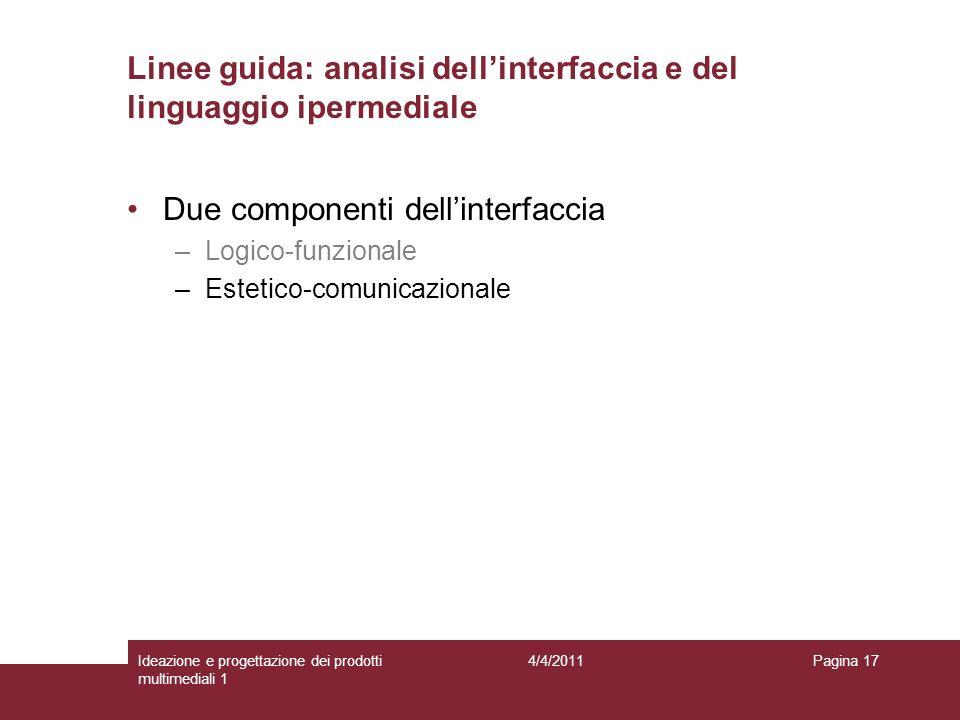 Pagina 17 Due componenti dellinterfaccia –Logico-funzionale –Estetico-comunicazionale Linee guida: analisi dellinterfaccia e del linguaggio ipermedial