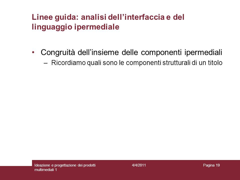 Pagina 19 Congruità dellinsieme delle componenti ipermediali –Ricordiamo quali sono le componenti strutturali di un titolo Linee guida: analisi dellin