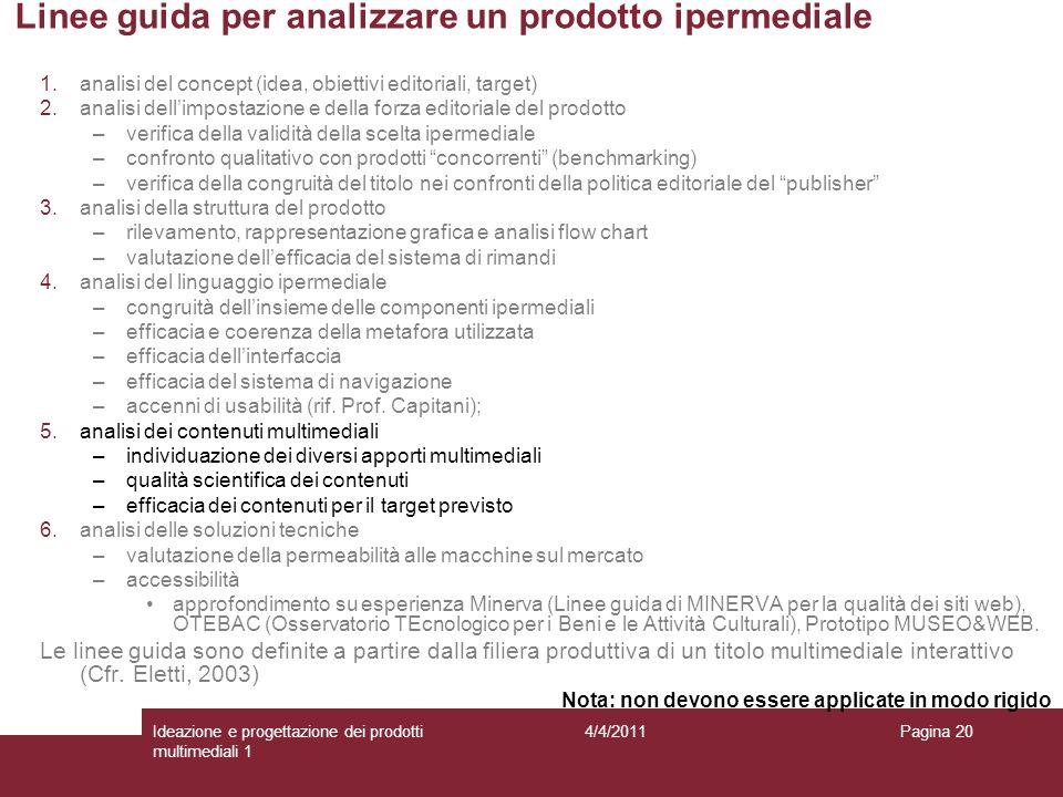 Pagina 20 Linee guida per analizzare un prodotto ipermediale 1.analisi del concept (idea, obiettivi editoriali, target) 2.analisi dellimpostazione e d