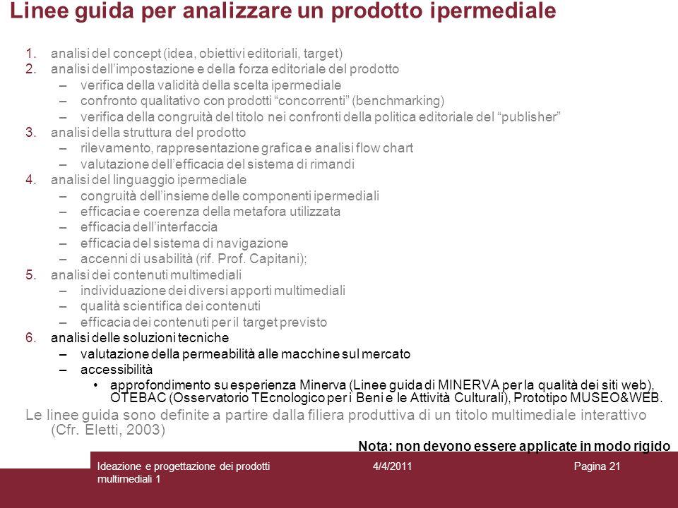 Pagina 21 Linee guida per analizzare un prodotto ipermediale 1.analisi del concept (idea, obiettivi editoriali, target) 2.analisi dellimpostazione e d