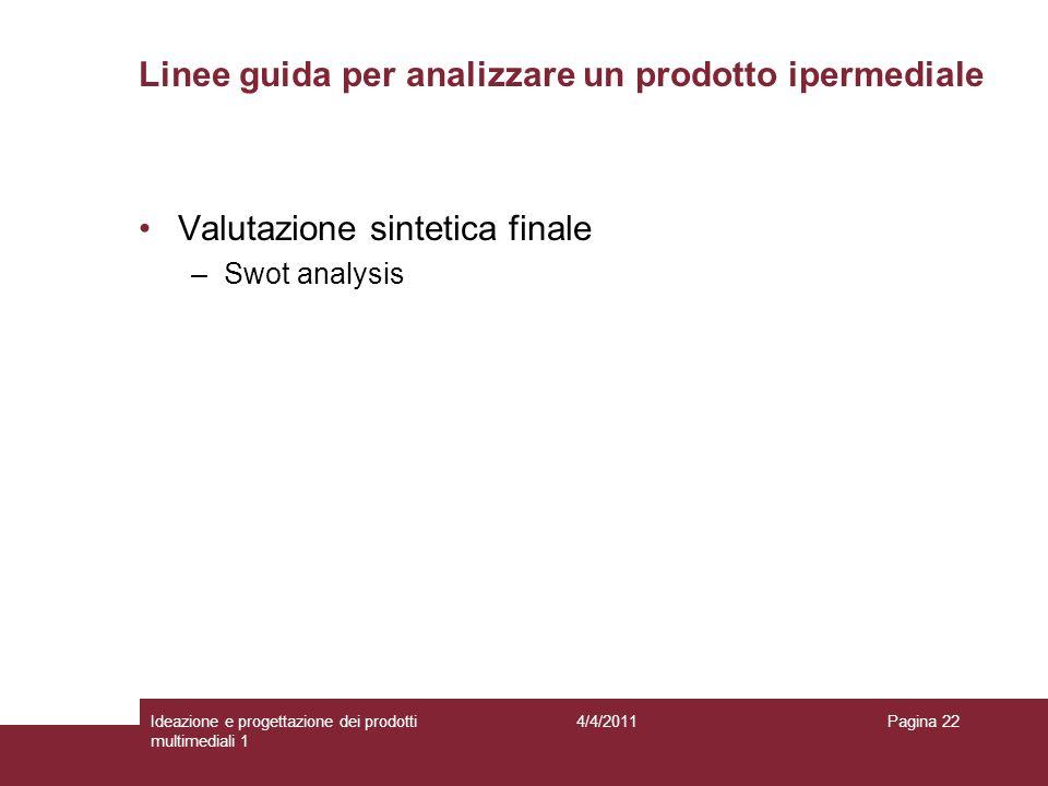 Pagina 22 Valutazione sintetica finale –Swot analysis Linee guida per analizzare un prodotto ipermediale 4/4/2011Ideazione e progettazione dei prodott