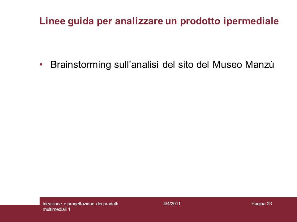 Brainstorming sullanalisi del sito del Museo Manzù Linee guida per analizzare un prodotto ipermediale Pagina 234/4/2011Ideazione e progettazione dei p