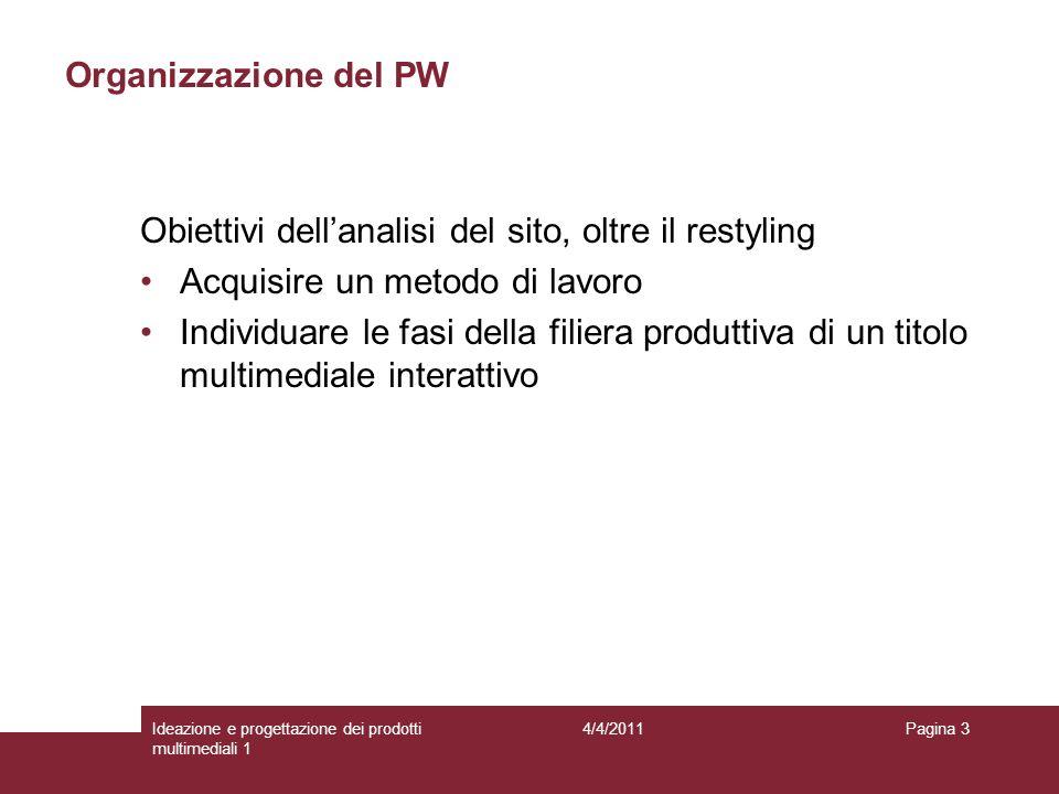 Pagina 3 Organizzazione del PW Obiettivi dellanalisi del sito, oltre il restyling Acquisire un metodo di lavoro Individuare le fasi della filiera prod