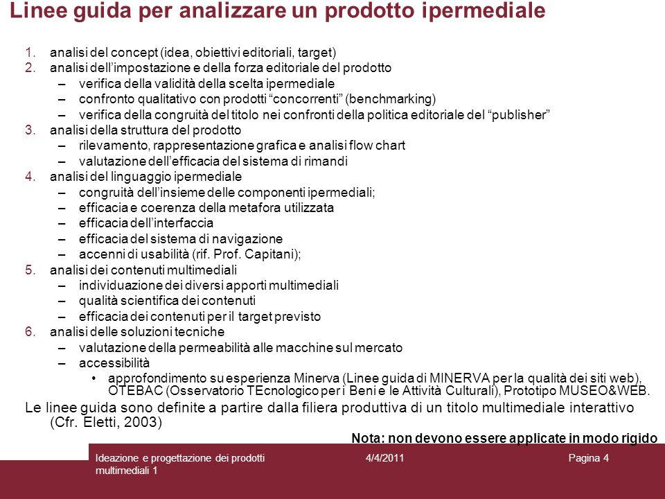 Pagina 4 Linee guida per analizzare un prodotto ipermediale 1.analisi del concept (idea, obiettivi editoriali, target) 2.analisi dellimpostazione e de