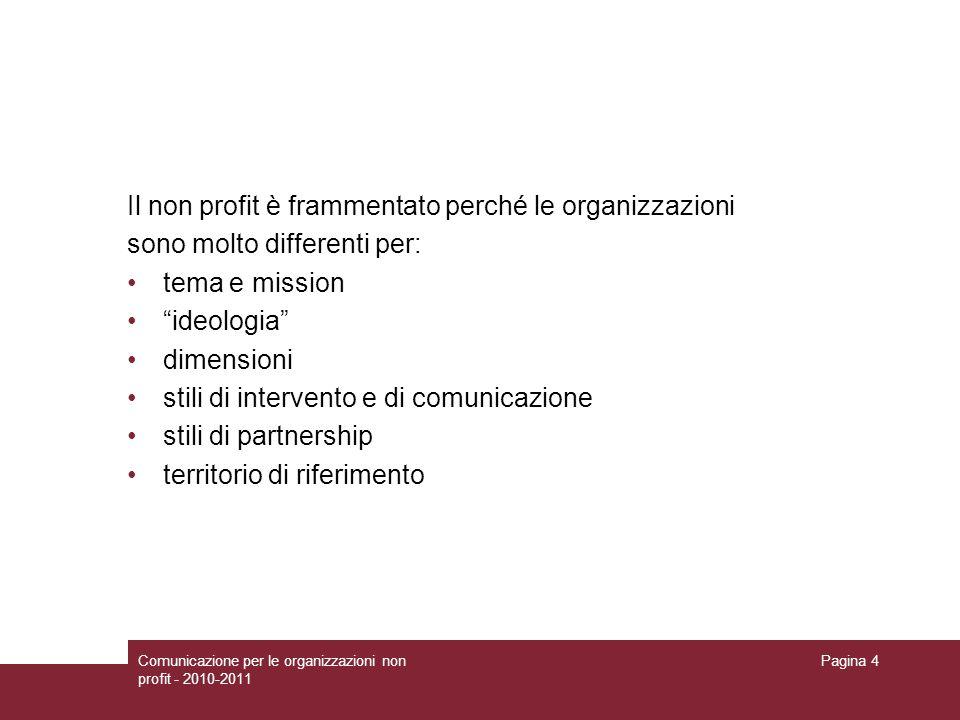 Comunicazione per le organizzazioni non profit - 2010-2011 Pagina 4 Il non profit è frammentato perché le organizzazioni sono molto differenti per: te