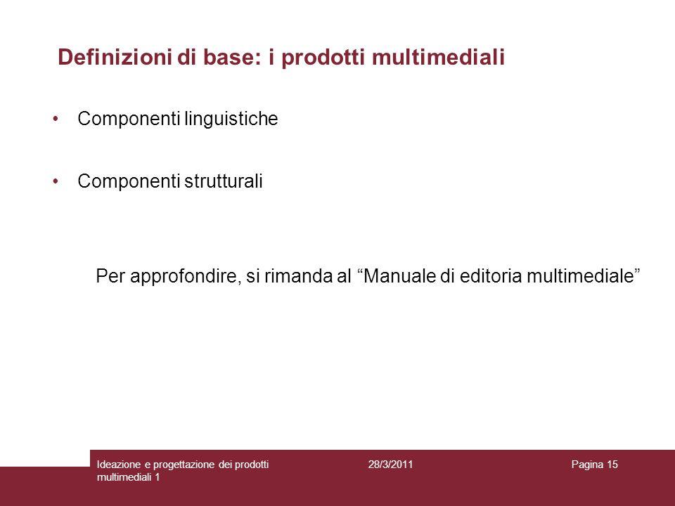 28/3/2011Ideazione e progettazione dei prodotti multimediali 1 Pagina 15 Componenti linguistiche Componenti strutturali Per approfondire, si rimanda a
