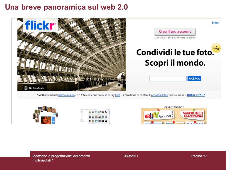28/3/2011Ideazione e progettazione dei prodotti multimediali 1 Pagina 17 Una breve panoramica sul web 2.0