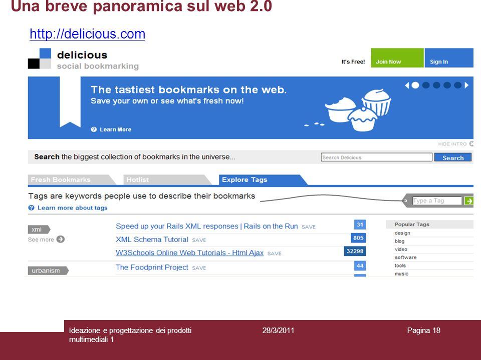28/3/2011Ideazione e progettazione dei prodotti multimediali 1 Pagina 18 http://delicious.com Una breve panoramica sul web 2.0