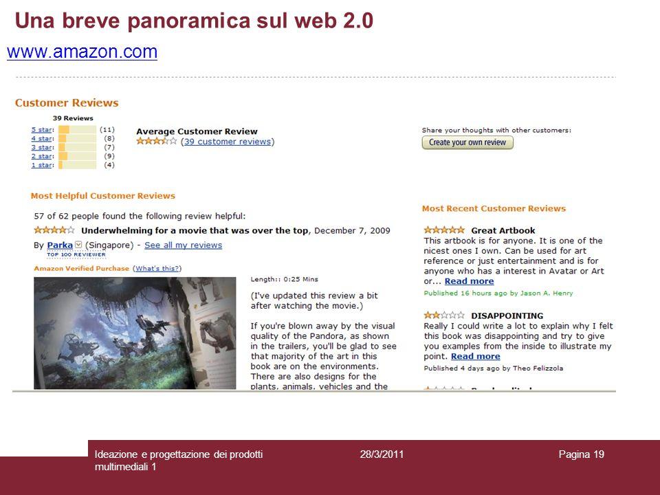 28/3/2011Ideazione e progettazione dei prodotti multimediali 1 Pagina 19 www.amazon.com Una breve panoramica sul web 2.0
