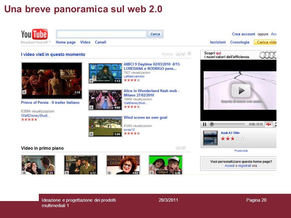 28/3/2011Ideazione e progettazione dei prodotti multimediali 1 Pagina 20 Una breve panoramica sul web 2.0
