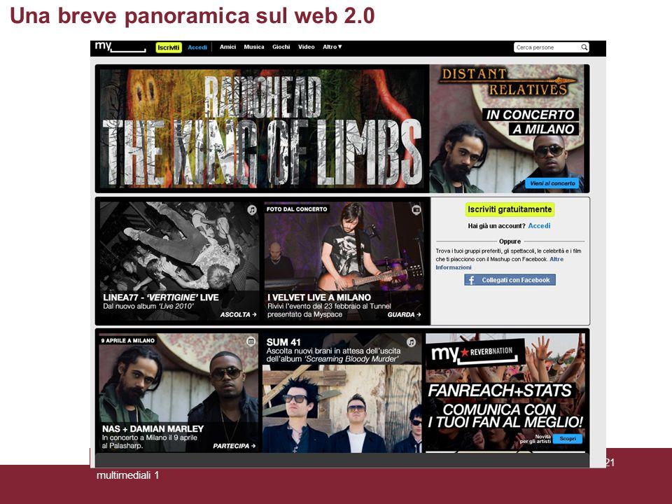 28/3/2011Ideazione e progettazione dei prodotti multimediali 1 Pagina 21 Una breve panoramica sul web 2.0