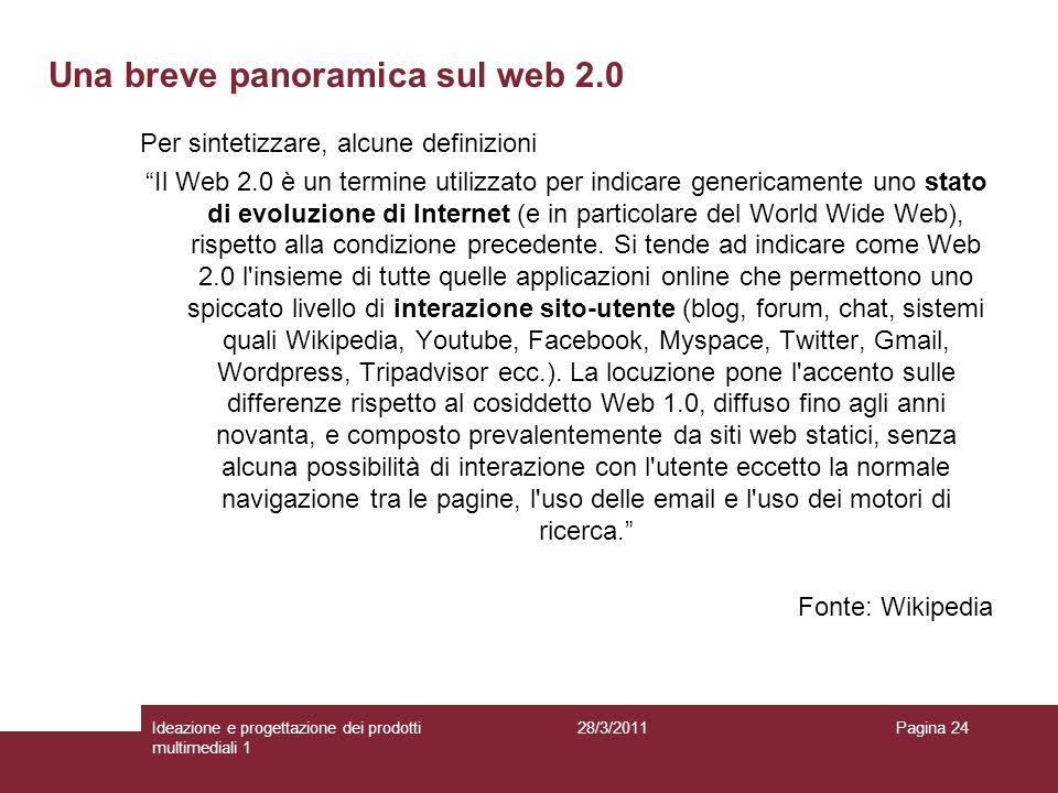 28/3/2011Ideazione e progettazione dei prodotti multimediali 1 Pagina 24 Per sintetizzare, alcune definizioni Il Web 2.0 è un termine utilizzato per i