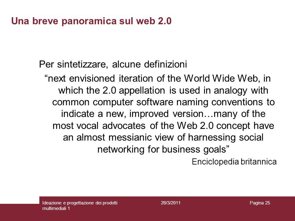 28/3/2011Ideazione e progettazione dei prodotti multimediali 1 Pagina 25 Per sintetizzare, alcune definizioni next envisioned iteration of the World W