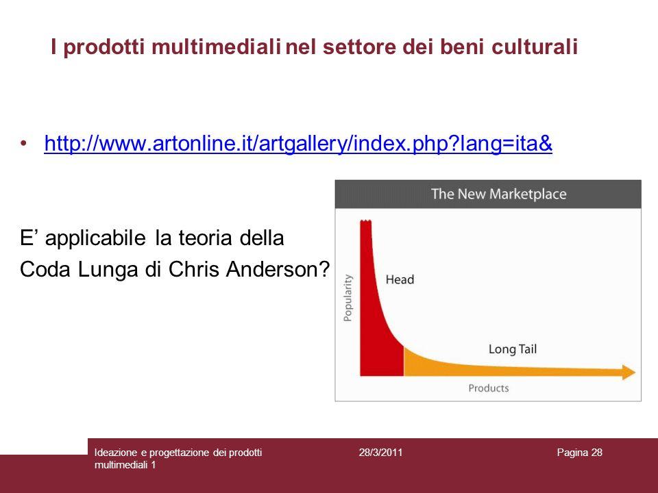 28/3/2011Ideazione e progettazione dei prodotti multimediali 1 Pagina 28 http://www.artonline.it/artgallery/index.php?lang=ita& E applicabile la teori