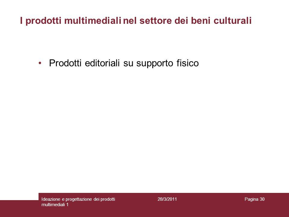 28/3/2011Ideazione e progettazione dei prodotti multimediali 1 Pagina 30 Prodotti editoriali su supporto fisico I prodotti multimediali nel settore de