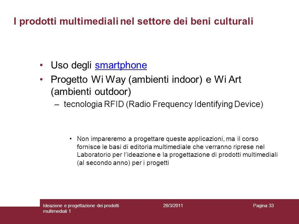 28/3/2011Ideazione e progettazione dei prodotti multimediali 1 Pagina 33 Uso degli smartphonesmartphone Progetto Wi Way (ambienti indoor) e Wi Art (am