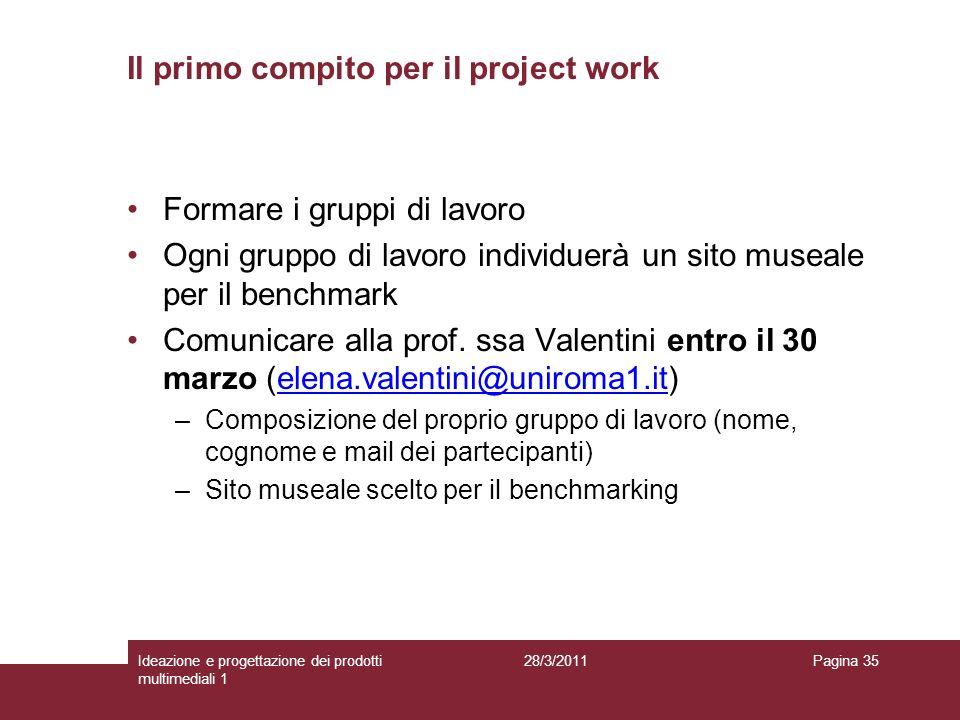Il primo compito per il project work Formare i gruppi di lavoro Ogni gruppo di lavoro individuerà un sito museale per il benchmark Comunicare alla pro