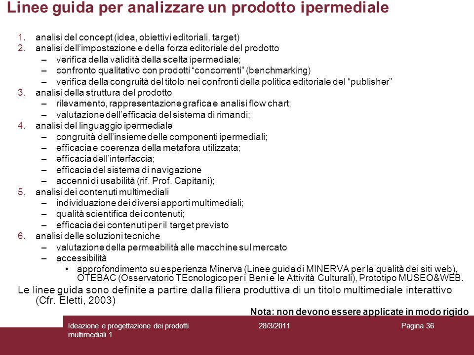28/3/2011Ideazione e progettazione dei prodotti multimediali 1 Pagina 36 Linee guida per analizzare un prodotto ipermediale 1.analisi del concept (ide
