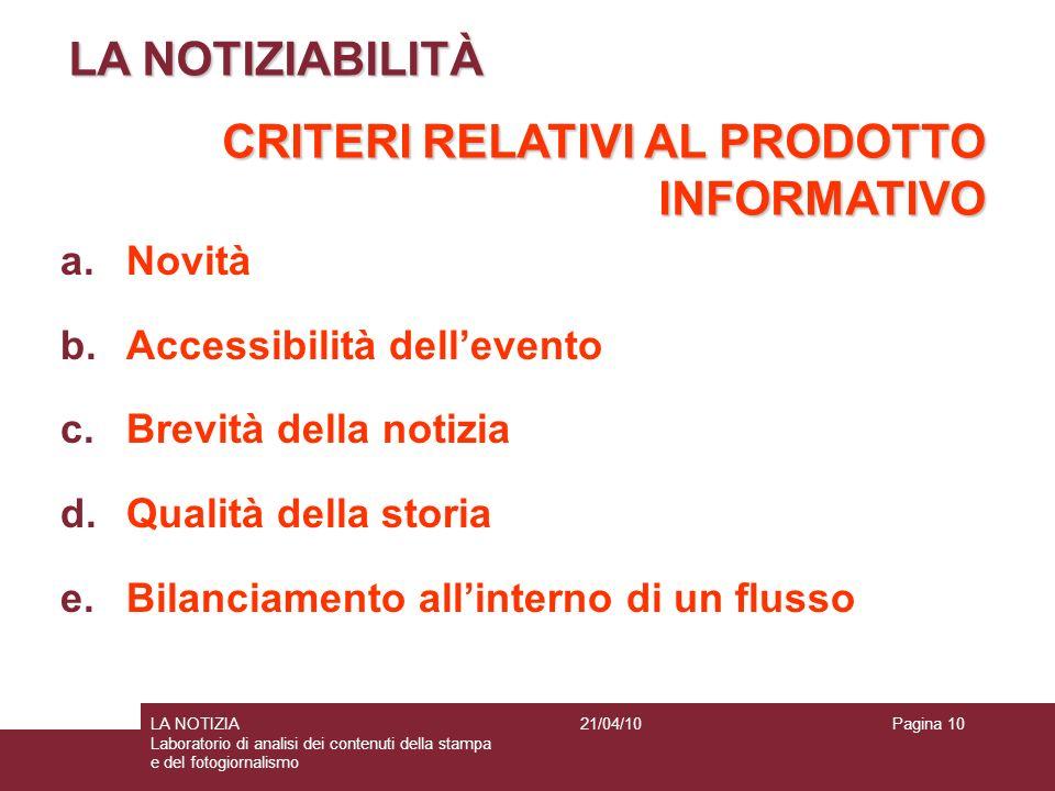 Pagina 10LA NOTIZIA Laboratorio di analisi dei contenuti della stampa e del fotogiornalismo 21/04/10 LA NOTIZIABILITÀ CRITERI RELATIVI AL PRODOTTO INF