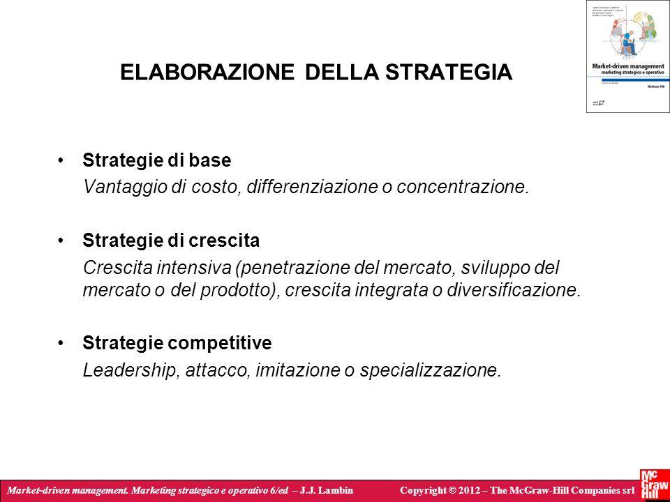 Market-driven management. Marketing strategico e operativo 6/ed – J.J. LambinCopyright © 2012 – The McGraw-Hill Companies srl ELABORAZIONE DELLA STRAT