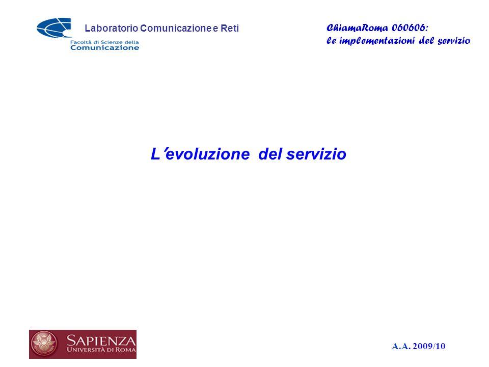 A.A. 2009/10 Laboratorio Comunicazione e Reti ChiamaRoma 060606: le implementazioni del servizio L evoluzione del servizio