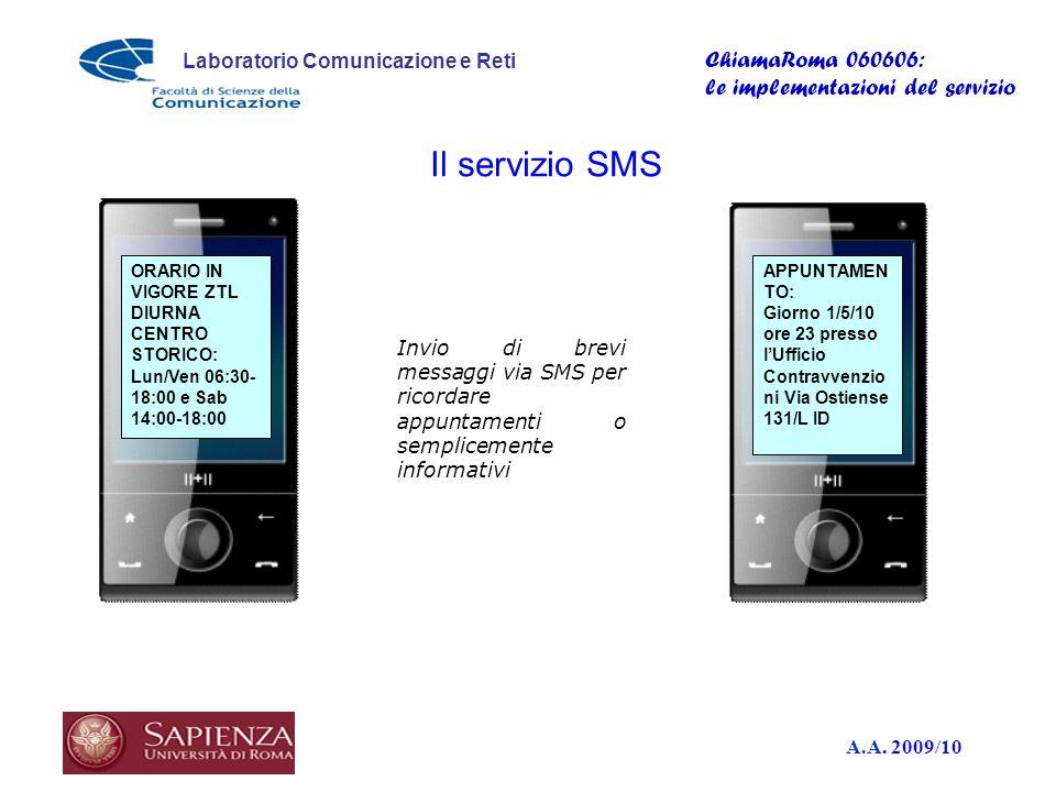 A.A. 2009/10 Laboratorio Comunicazione e Reti ChiamaRoma 060606: le implementazioni del servizio APPUNTAMEN TO: Giorno 1/5/10 ore 23 presso lUfficio C