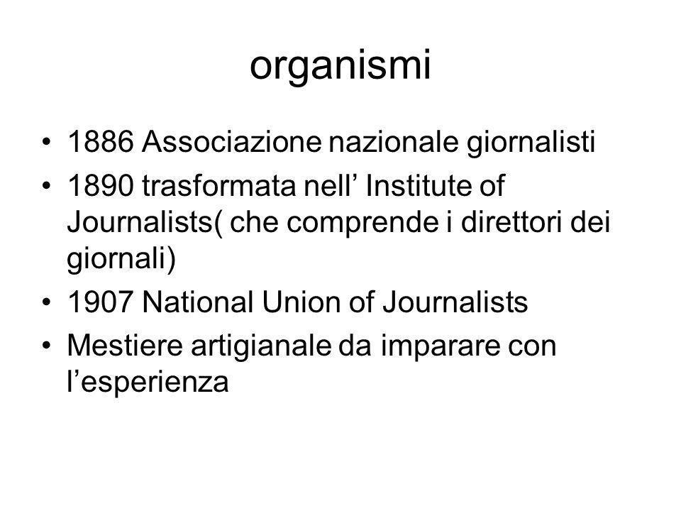 organismi 1886 Associazione nazionale giornalisti 1890 trasformata nell Institute of Journalists( che comprende i direttori dei giornali) 1907 National Union of Journalists Mestiere artigianale da imparare con lesperienza