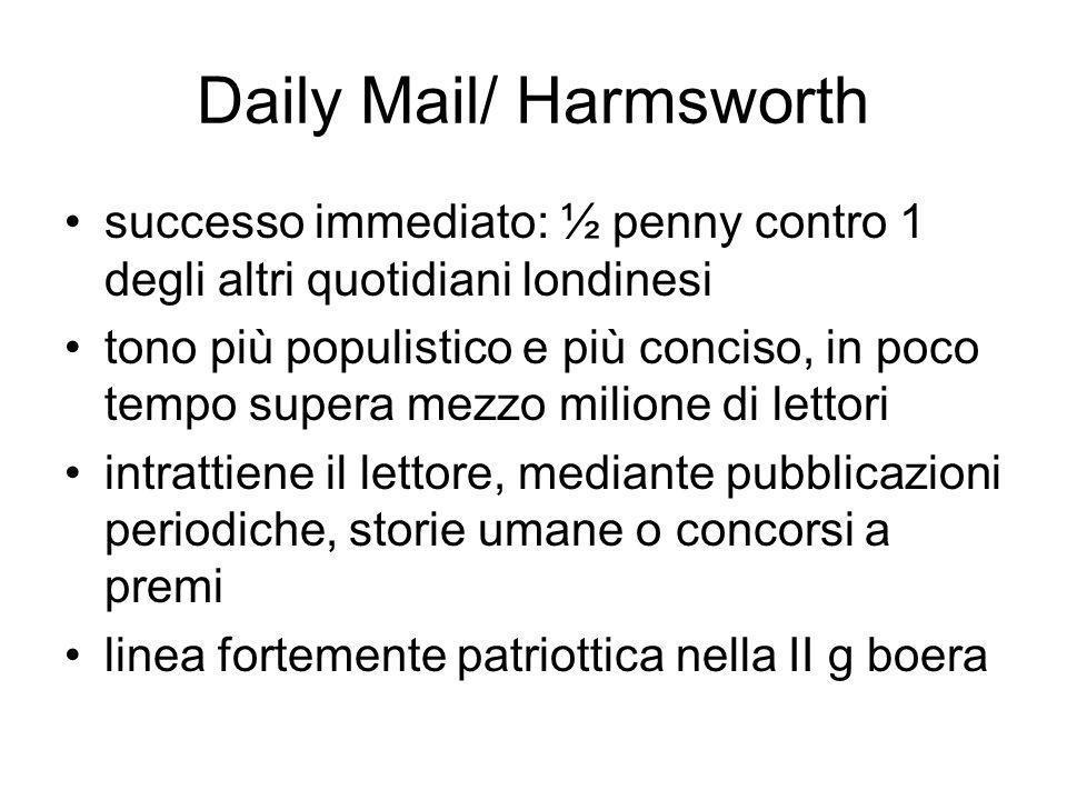 Daily Mail/ Harmsworth successo immediato: ½ penny contro 1 degli altri quotidiani londinesi tono più populistico e più conciso, in poco tempo supera mezzo milione di lettori intrattiene il lettore, mediante pubblicazioni periodiche, storie umane o concorsi a premi linea fortemente patriottica nella II g boera
