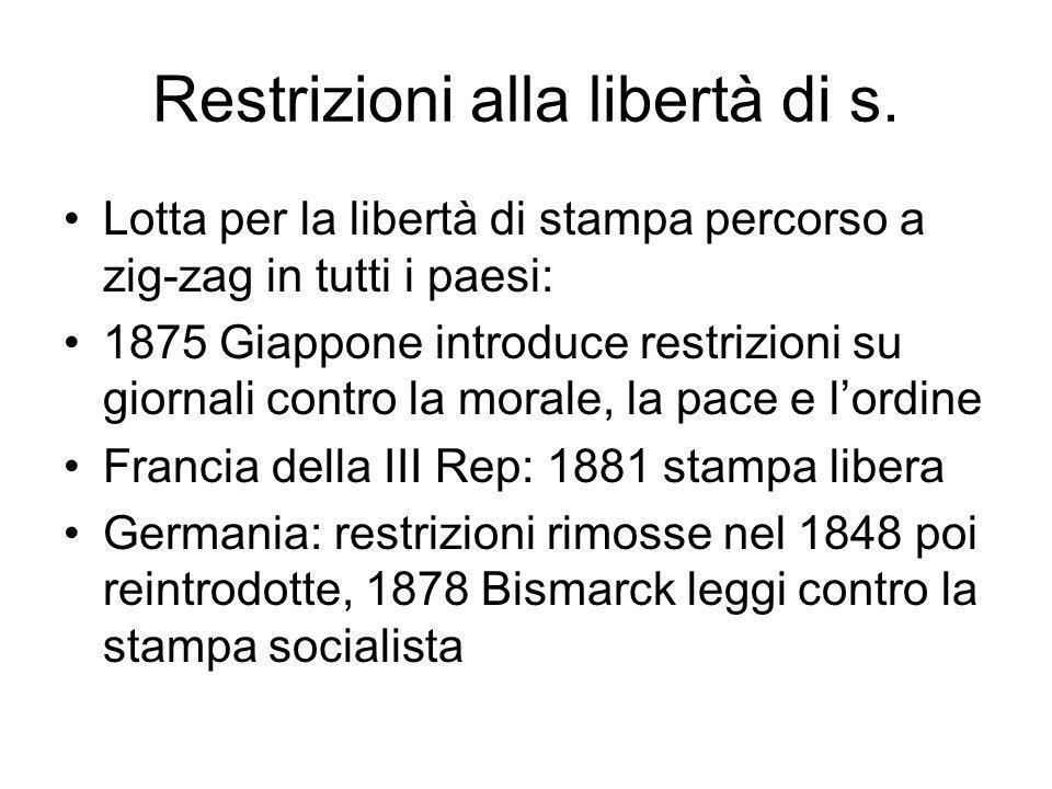 Restrizioni alla libertà di s.