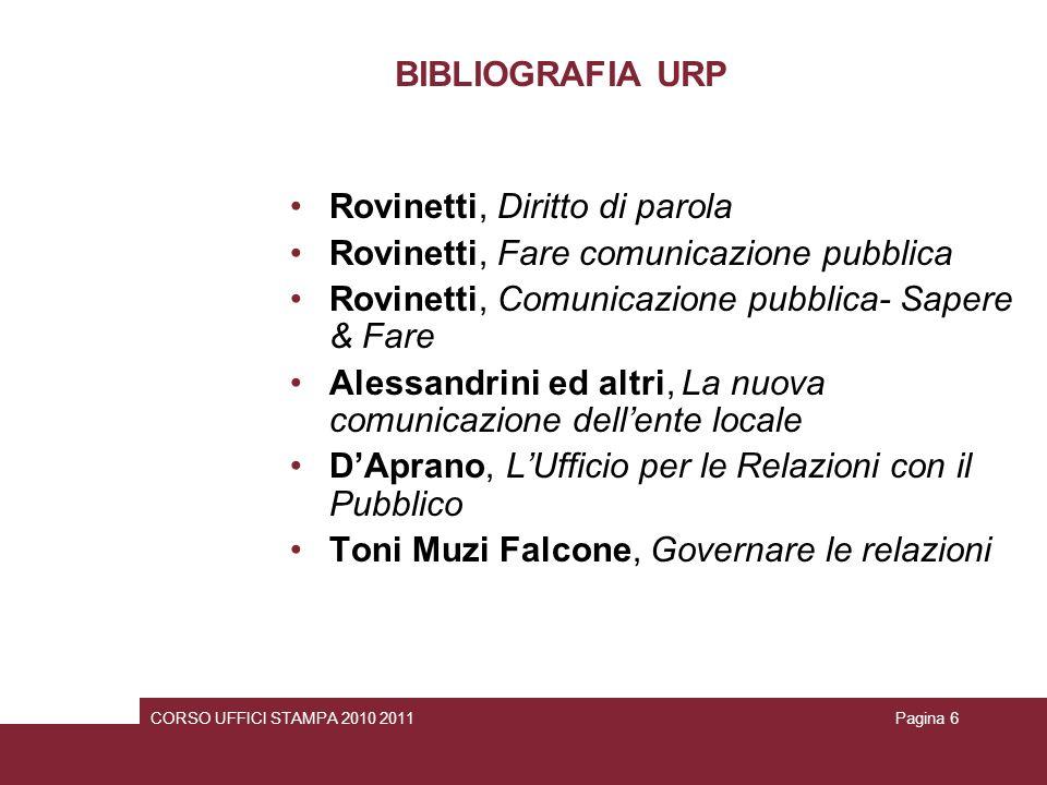 BIBLIOGRAFIA URP Rovinetti, Diritto di parola Rovinetti, Fare comunicazione pubblica Rovinetti, Comunicazione pubblica- Sapere & Fare Alessandrini ed