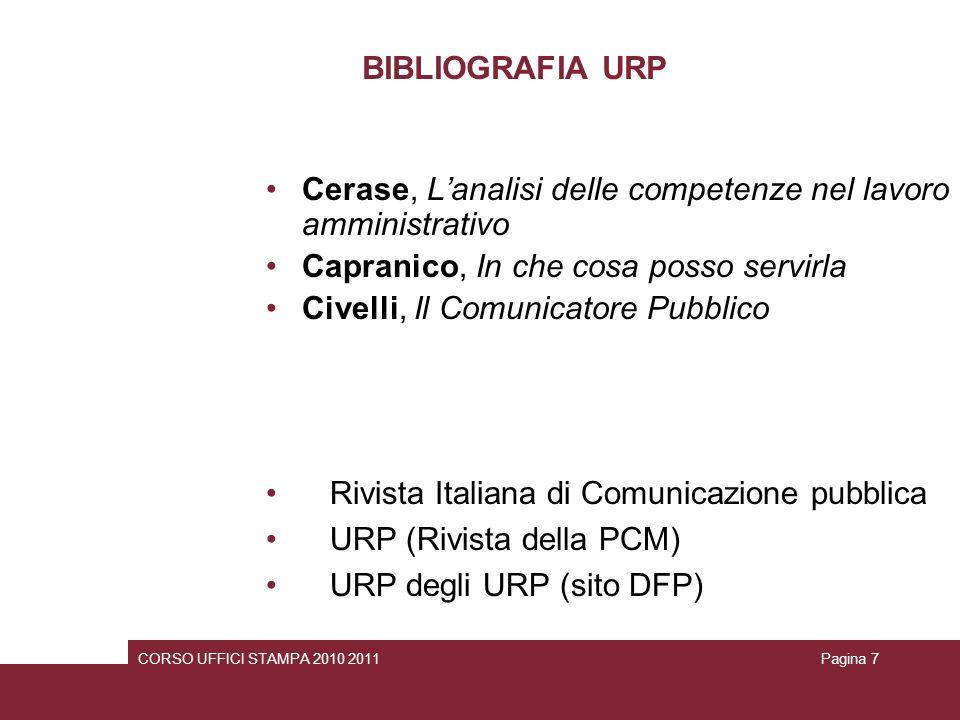 BIBLIOGRAFIA URP Cerase, Lanalisi delle competenze nel lavoro amministrativo Capranico, In che cosa posso servirla Civelli, Il Comunicatore Pubblico R