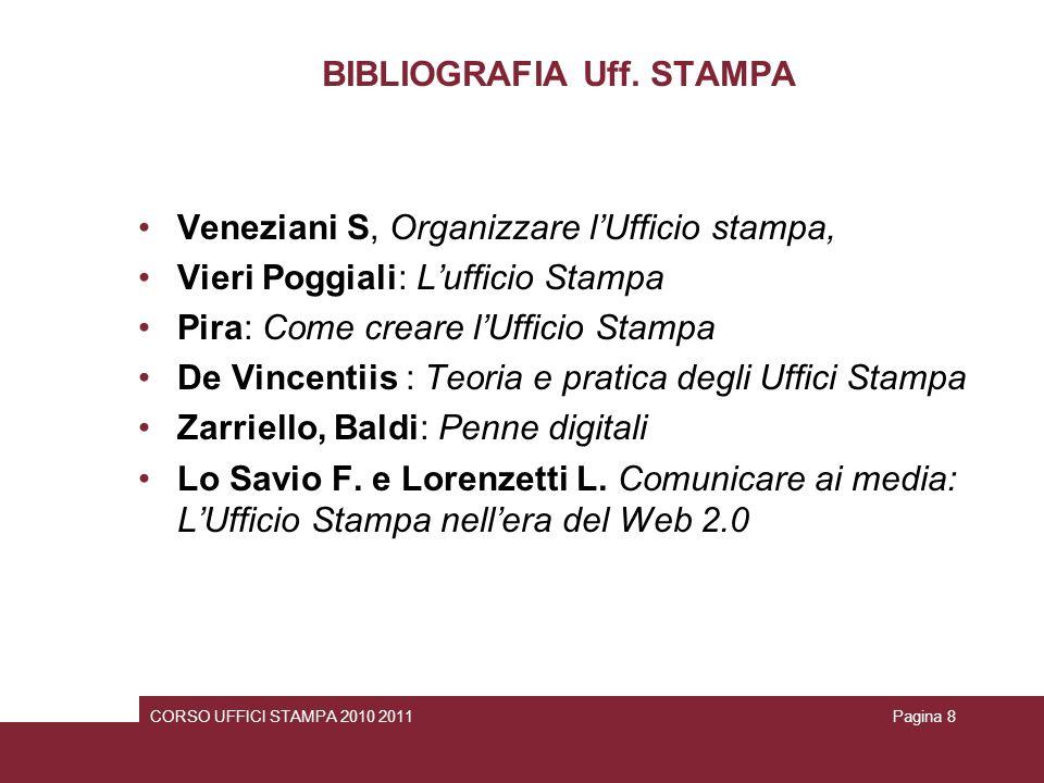 BIBLIOGRAFIA Uff. STAMPA Veneziani S, Organizzare lUfficio stampa, Vieri Poggiali: Lufficio Stampa Pira: Come creare lUfficio Stampa De Vincentiis : T
