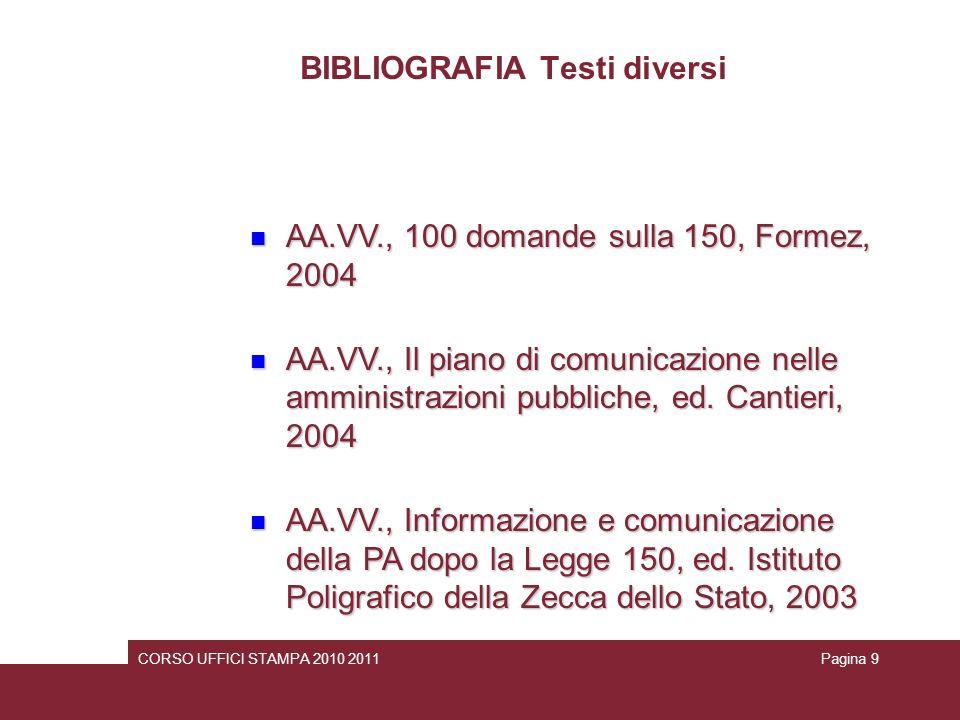 BIBLIOGRAFIA Testi diversi telitto imperfetto AA.VV., 100 domande sulla 150, Formez, 2004 AA.VV., 100 domande sulla 150, Formez, 2004 AA.VV., Il piano