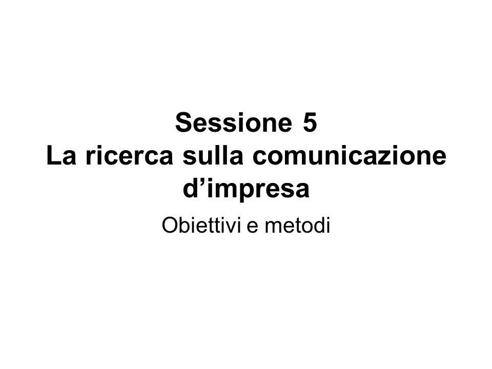 Sessione 5 La ricerca sulla comunicazione dimpresa Obiettivi e metodi