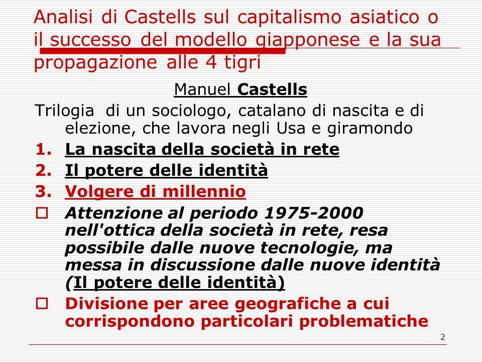 2 Analisi di Castells sul capitalismo asiatico o il successo del modello giapponese e la sua propagazione alle 4 tigri Manuel Castells Trilogia di un