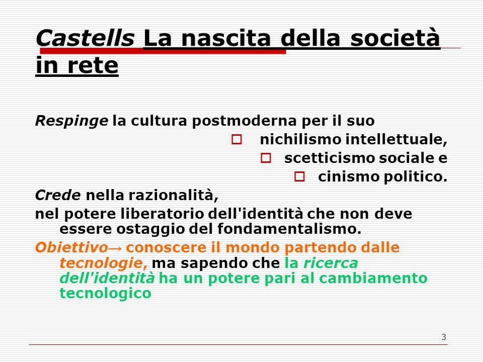 3 Castells La nascita della società in rete Respinge la cultura postmoderna per il suo nichilismo intellettuale, scetticismo sociale e cinismo politico.
