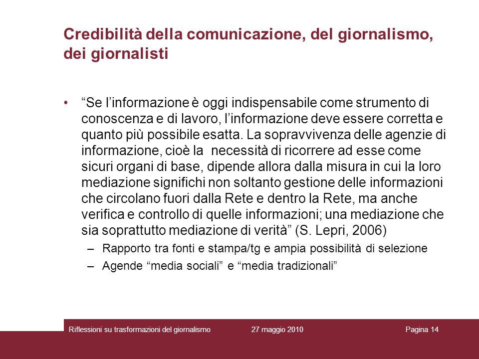 27 maggio 2010Riflessioni su trasformazioni del giornalismoPagina 14 Se linformazione è oggi indispensabile come strumento di conoscenza e di lavoro,